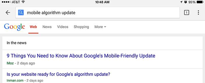 Google's mobile algorithm update